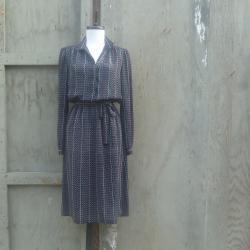 1980s Black Printed Secretary Dress