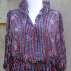 1980s Printed Tie Neck Dress